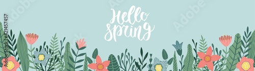 Fototapeta Vector spring banner with copy space for text. Flower designs in flat style. obraz