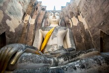 Low Angle View Of Giant Buddha Statue