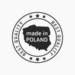Etykieta znak oznaczenie made in Poland, wyprodukowane w Polsce na opakowania. Wektor projekt. Best quality.