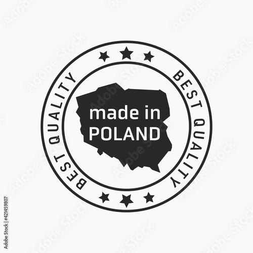 Fototapeta Etykieta znak oznaczenie made in Poland, wyprodukowane w Polsce na opakowania. Wektor projekt. Best quality. obraz