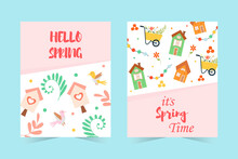 Set Of Spring Banners. Hello Spring With Lettering, Cute Houses, Birds, Birdhouses, Flowers And More. Vector Hand-drawn Illustration.