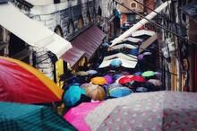 High Angle View Of Multi Colored Umbrellas In Venice