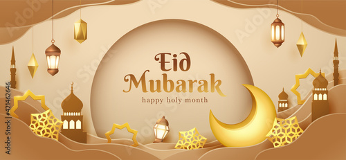 Foto Eid Mubarak paper graphic of islamic festival design with crescent moon and islamic decorations