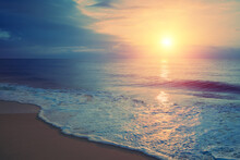 Seascape In The Early Morning. Sunrise Over The Sea. Nature Landscape