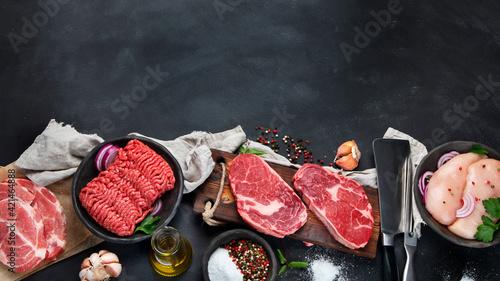 Fototapeta Variety of raw meat obraz