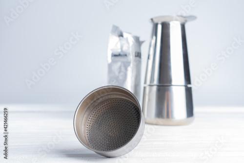 Fotografering geyser coffee maker with ground coffee
