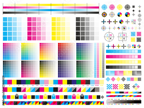 Fototapeta Color cmyk management elements. Offset print registration plates, gradient, cmyk color mixing panel. Printing control marks vector illustration set obraz