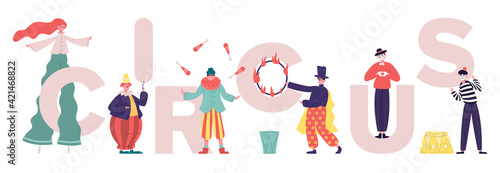 Fototapeta Circus characters. Clowns and mimes comedy performing, performance artists with circus letters. Various circus artists vector illustration obraz