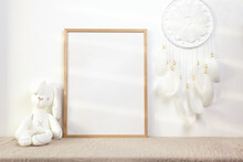 Nursery Frame Mockup With White Bunny And Dreamcatcher