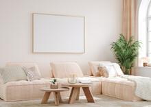 Mock Up Frame In Cozy Home Interior Background, 3d Render