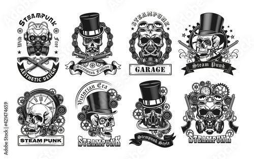 Photo Vintage badges with steampunk skull vector illustration set