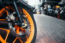 Close-up Of Motorcycle Tire On Road In City
