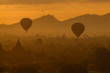 Silhouette Hot Air Balloons Flying During Sunset