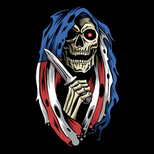 Angel Of Death Grim Reaper With Hood Cloak American Flag Holding A Dagger
