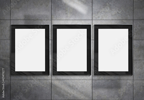 Photo Three vertical billboards on underground wall Mockup