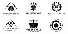Set Of Mining Logo Vector Vintage Illustration Template Design . Mining Cart Helmet Shovel Trowel Pickax Or Pickaxe Tools Logo Bundle Collection Mining Concept Illustration Design