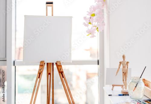 Easel in artistic workspace Fototapet