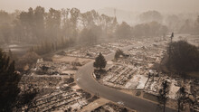 Forest Fire Destroys Mobile Homes And Flips Peoples Lives Upside Down After Fire Blows Through Town.