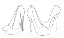Fashionable Black And White High-heeled Shoes Illustration Without Colors