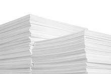 Stacks Of Paper Sheets On White Background, Closeup
