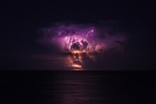 Lightning Storm At The Sea