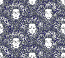 Vector Seamless Pattern. Fan Shaped Decorative Medusa Face, Serpent Hair. Fish Scale Order. Silver And Dark Blue Art Deco Wallpaper, Wrapping Paper, Batik Print