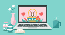 Happy Easter Day Via Online On Laptop Computer Concept, Vector Flat Illustration