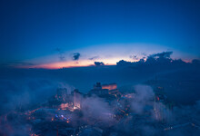 High Angle View Of Buildings Against Sky During Sunset In Genting Highlands Malaysia