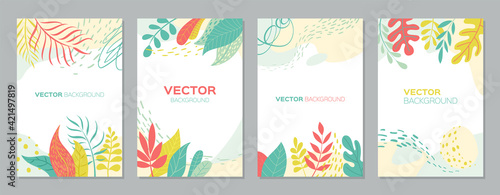 Fotografie, Obraz Set of abstract plants backgrounds with empty space for text, bright banners pos