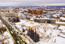 View From Drone Of Penza Trinity Convent Overlooking Golden Domes Of Temples On Winter Day, Russia.