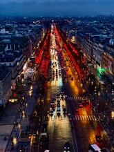High Angle View Of Illuminated City Street At Night Of Paris