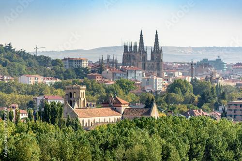 View of Burgos with its impressive Gothic cathedral. Burgos, Castilla y León, Spain