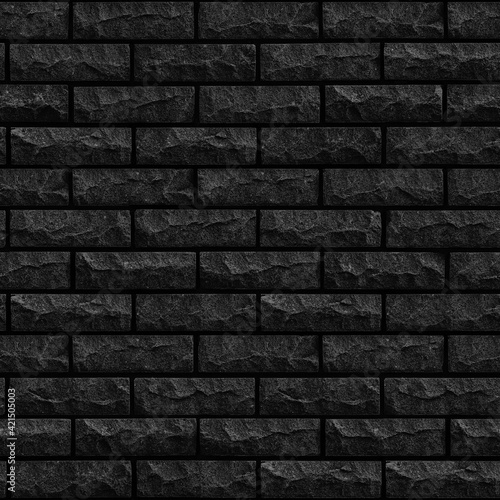 Foto Seamless texture Dark Gray with gnawed and chipped surfaces Brick