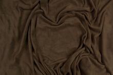 Fleece Fabric Green Top View. Texture Of Textile Fleece Bedspread.