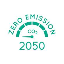 Zero Emission By 2050. Gauge Arrow Set To Zero. Carbon Neutral. Net Zero Greenhouse Gas Emissions Objective. Climate Neutral Long Term Strategy. No Toxic Gases. Vector Illustration, Flat, Clip Art.