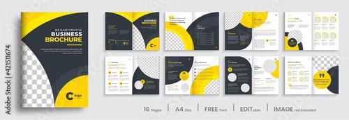 Brochure template layout design, minimal business brochure orange color shape design, annual report, company profile, editable template layout.