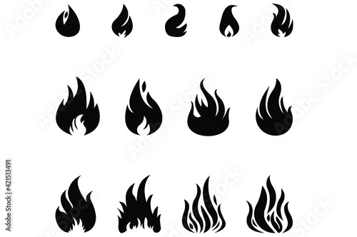 Fotografie, Obraz Fire Icon Set. For your design .Vector EPS10.
