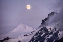 Mountain Peak Landscape. To The Top Of A Mountain Beautiful Full Moon Over Tranquil Nature