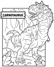 Prehistoric Dinosaur Carnotaurus, Coloring Book, Funny Illustration