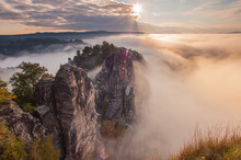 Panoramic View Of Rock Formation Against Sky During Sunset