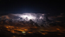 Lighting Flash In A Thunderstorm Cloud Over Algiers, Shot From An Airliner As We Fly Nearby