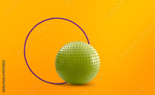 Obraz na plátne hula hoop and gymnastic massage ball