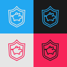 Pop Art Line Piggy Bank With Shield Icon Isolated On Color Background. Icon Saving Or Accumulation Of Money, Investment. Vector
