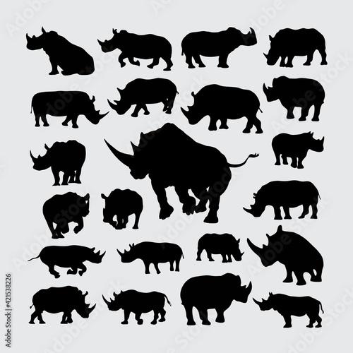 Obraz na plátně set of rhino silhouettes