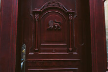 Wooden Ornate Carved Lion Door Art Style Protection
