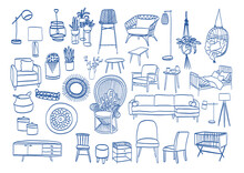 Set Of Vector Furniture Illustration. Collection Of Furniture Sketches. Interior Design Decor.