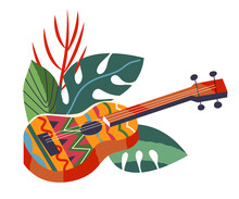 Guitar In Leaves, Hawaii Aloha Tropical Summer Elements. Hawaiian Beach Vintage Travel Poster Vector Illustration. Music Instrument In Plants Isolated On White Background