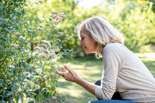 Smiling Mature Woman Looking At Flowers In Backyard