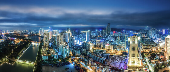 Aerial photography of the modern city landscape night view of Xiamen, China