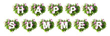 HAPPY SUMMER Text. The Pattern Of Hearts Made Of Flowers. Creative Concept, Long Banner